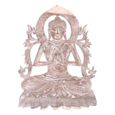 Wood relief panel, 'Buddha Meditates' - Wood Relief Panel Wall Sculpture 'Buddha Meditates' NOVICA