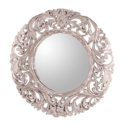 Wood wall mirror, 'Balinese Garden' - Engraved Floral Motif Whitewash Round Wood Mirror