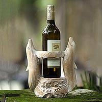 Wood bottle holder, 'Dolphin's Waltz' - Hand Made Wooden Dolphin Bottle Holder from Indonesia