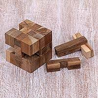 Teakwood puzzle, 'Cube Quiz' - Reclaimed Teakwood Puzzle Cube from Bali