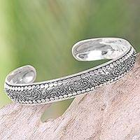 Sterling silver cuff bracelet, 'Night Swirl' - Indonesian Sterling Silver Cuff Bracelet with Swirl Pattern
