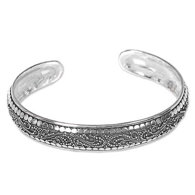 Sterling silver cuff bracelet, 'Night Swirl' - Indonesian Sterling Silver Cuff Bracelet with Swirl Pattern