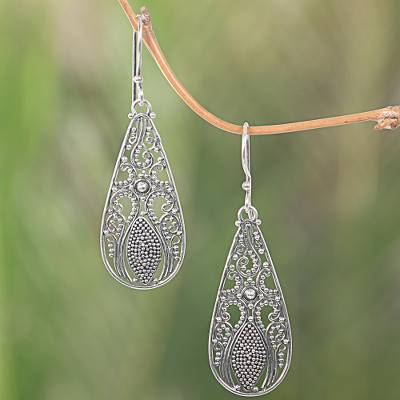 46340a71625f9 Sterling Silver Dangle Teardrop Earrings Made in Indonesia, 'Silver Swing'