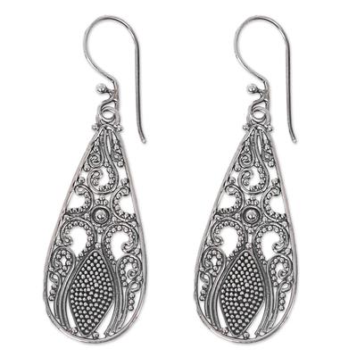Sterling silver dangle earrings, 'Silver Swing' - Sterling Silver Dangle Teardrop Earrings Made in Indonesia