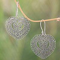 Sterling silver dangle earrings, 'Fern Forest Heart' - Handcrafted Balinese Heart Earrings in Sterling Silver Lace