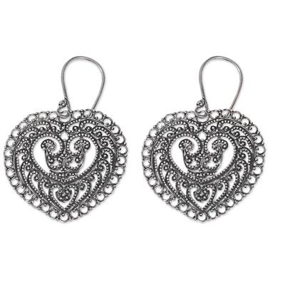 Sterling silver dangle earrings, 'Fern Forest Heart' - Handcrafted Balinese Heart Earrings in Sterling Silver Lace