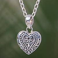 Sterling silver pendant necklace, 'Sweetheart Romance' - Indonesian Style Handcrafted Sterling Silver Heart Necklace