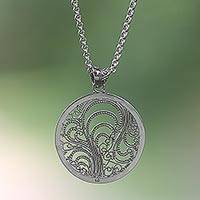 Sterling silver pendant necklace, 'Waving Vines' - Sterling Silver Openwork Pendant Necklace from Indonesia