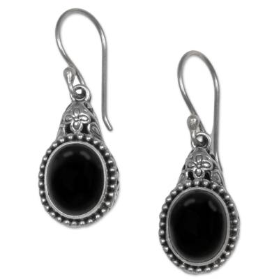 Onyx dangle earrings, 'Deepest Night' - Sterling Silver Onyx Dangle Earrings from Indonesia