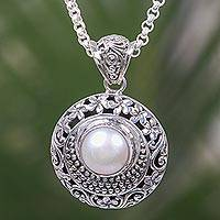 Cultured pearl pendant necklace, 'Frangipani Moonlight' - Balinese Handcrafted Sterling Silver Cultured Pearl Necklace