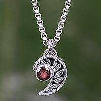 Garnet pendant necklace, 'Silver Fern Embrace'