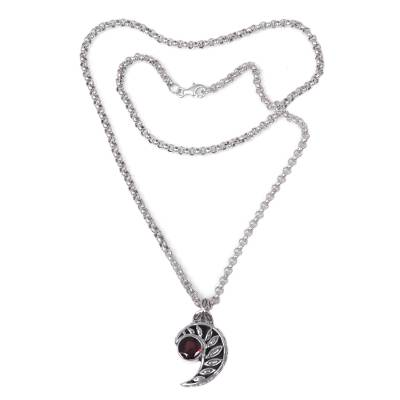 Garnet pendant necklace, 'Silver Fern Embrace' - Balinese Handcrafted Silver Fern Theme Garnet Necklace