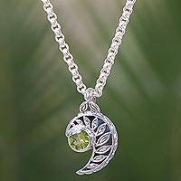 Peridot pendant necklace, 'Silver Fern Embrace' - Balinese Fern Theme Handcrafted Silver and Peridot Necklace