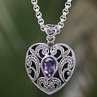 Amethyst pendant necklace, 'Heart of Lavender' - Amethyst Handcrafted Sterling Silver Heart Necklace