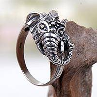Sterling silver cocktail ring, 'Gallant Elephant' - Sterling Silver Elephant Ring Hand Crafted in Indonesia