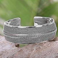 Sterling silver cuff bracelet, 'Knot of Chains' - Hand Made Sterling Silver Cuff Bracelet from Indonesia