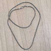 Sterling silver chain necklace, 'Precious Rope' - Handcrafted Sterling Silver Balinese Long Chain Necklace