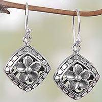 Sterling silver dangle earrings, 'Sacred Flower' - Hand Made Sterling Silver Dangle Earrings Floral Indonesia