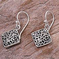 Sterling silver dangle earrings, 'Jepun Squares' - Hand Made Floral Sterling Silver Dangle Earrings Indonesia