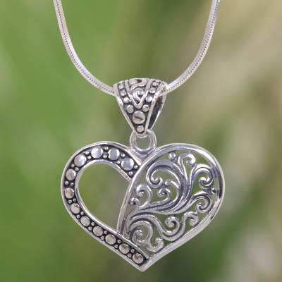 Sterling silver pendant necklace, 'Two Hearts are One' - Balinese Sterling Silver Romantic Heart Necklace