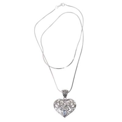 Blue topaz pendant necklace, 'Tears from the Heart' - Artisan Crafted Balinese Blue Topaz Heart Necklace