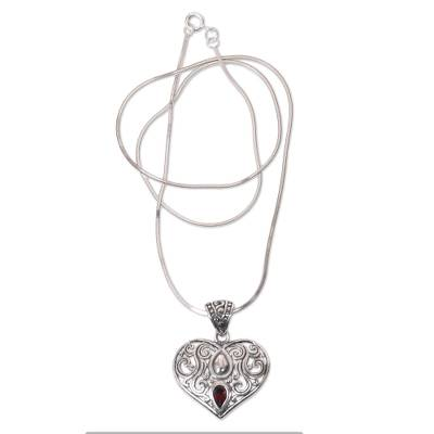 Garnet pendant necklace, 'Tears from the Heart' - Balinese Fair Trade Garnet Heart Necklace