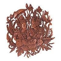 Wood relief panel, 'Rama and Sita's True Love'