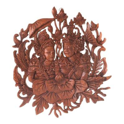 Wood relief panel, 'Rama and Sita's True Love' - Sita and Rama Relief Panel Wall Sculpture from Bali