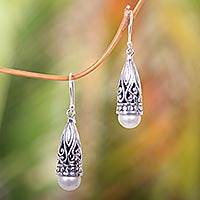 Cultured pearl dangle earrings, 'Radiant Lotus Bud' - Ornate Balinese Silver and Cultured Pearl Earrings