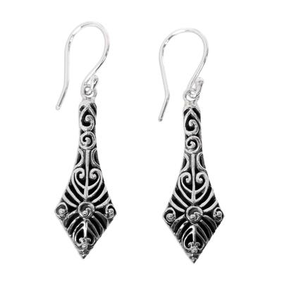 Sterling Silver 925 Handcrafted Balinese Dangle Earrings