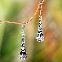 Sterling silver dangle earrings, 'Silent Scepter' - Fair Trade Handcrafted Dangle Earrings in Sterling Silver
