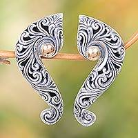 Gold accented sterling silver drop earrings, 'Magnificent Waves' - Sterling Silver Drop Earrings with Wave and Floral Motif