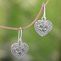 Sterling silver heart earrings, 'Romantic Frangipani' - Handcrafted Floral Heart Earrings in Sterling Silver