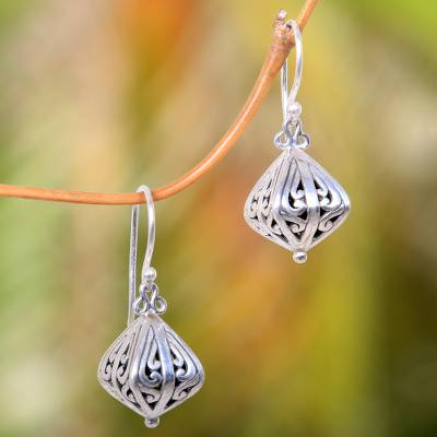 Sterling silver dangle earrings, Silver Fruit