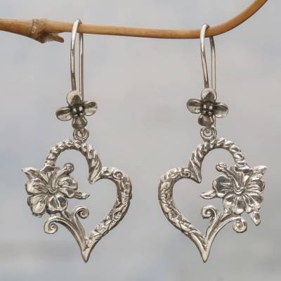 Sterling silver dangle earrings, 'Hibiscus Bloom' - Indonesian 925 Sterling Silver Flower Heart Dangle Earrings