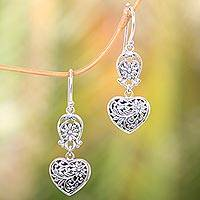 Sterling silver dangle earrings, 'Blooming Hearts' - Heart-Shaped Sterling Silver Dangle Earrings from Bali