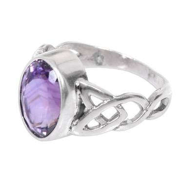Amethyst Sterling Silver Ring Handmade in Indonesia