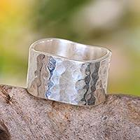Sterling silver band ring, 'Shining Waves' - Wide Sterling Silver Band Ring from Indonesia