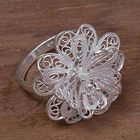 Sterling silver filigree cocktail ring, 'Sterling Jasmine'