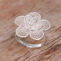 Sterling silver filigree cocktail ring, 'Hopeful Lotus' - Hand Made Sterling Silver Filigree Cocktail Ring