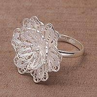 Sterling silver cocktail ring, 'Waribang Cloud' - Sterling Silver Cocktail Floral Filigree Ring from Indonesia
