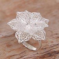 Sterling silver filigree cocktail ring, 'Sterling Tropics' - Hand Made Sterling Silver Hibiscus Flower Cocktail Ring Bali
