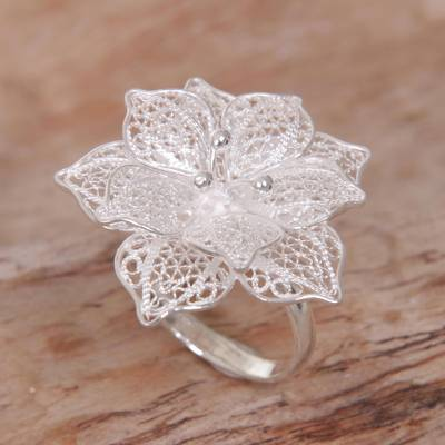 Hand Made Sterling Silver Hibiscus Flower Cocktail Ring Bali