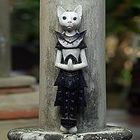 Wood wall sculpture, 'White Palace Cat' - Wood Sculpture of a White Cat in Ancient Thai Dress