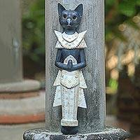 Wood wall sculpture, 'Royal Cat' - Handcarved Wood Balinese Cat Wall Hanging