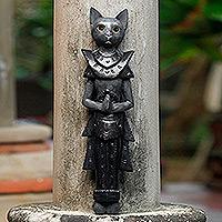 Wood wall sculpture, 'Grey Palace Cat'