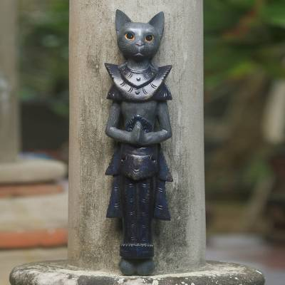 Wood wall sculpture, 'Grey Palace Cat' - Thai Grey Cat Sculpture in Hand Painted Wood