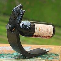 Wood wine bottle holder, 'Black Balinese Turtle' - Turtle Theme Modern Wood Wine Bottle Holder from Bali