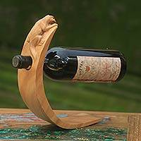 Wood wine bottle holder, 'Brown Balinese Lizard' - Lizard Theme Hand Carved Brown Wood Wine Bottle Holder