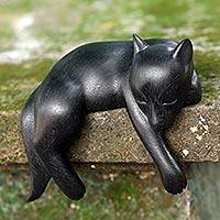 Wood statuette, 'Kintamani Dog' - Black Wood Sleeping Dog Statuette from Suar Wood